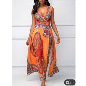 Dashiki print orange jumpsuit